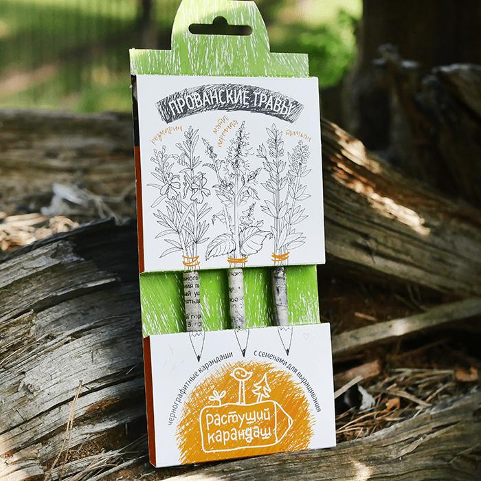 Набор графитных растущих карандашей «Прованские травы», 3 шт фото