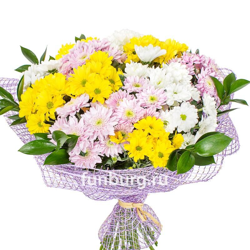Букет хризантем «Краски весны»