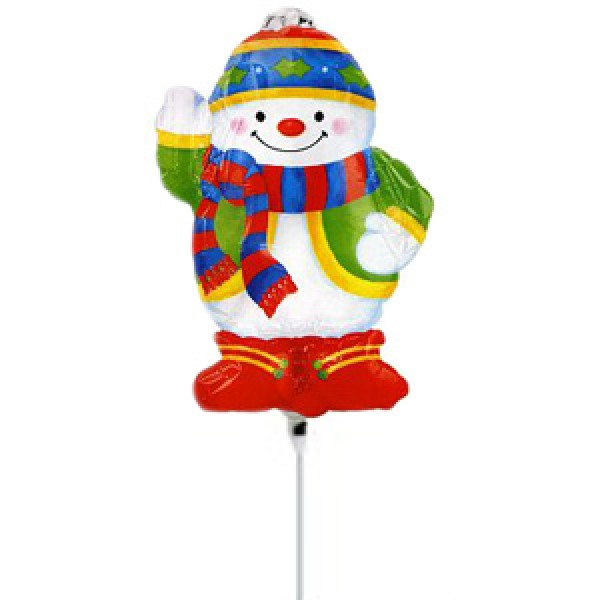 Шар на палочке «Снеговик»Из фольги с рисунком<br>Размер: 35смПроизводитель: Anagram, США<br>
