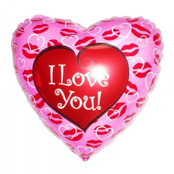Шарик из фольги «Сердце с поцелуями» фото
