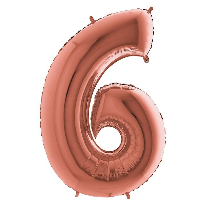 Шар из фольги «Цифра 6 (розовое золото)» фото