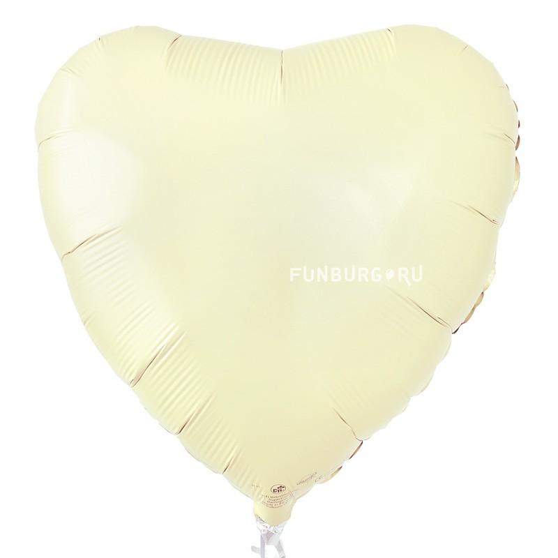 Шар из фольги «Сердце слоновая кость» фото