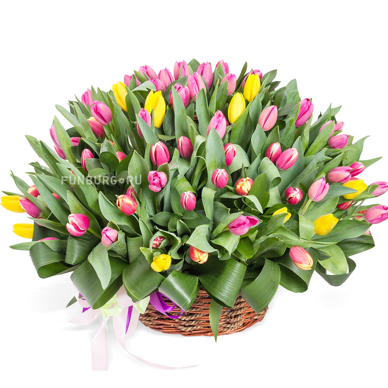 Корзина цветов «Тюльпаномания»