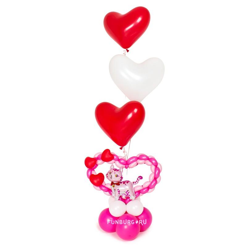 Фигура из шаров «Котенок и сердечки»Все фигуры<br>Размер: 160?50 см<br> Производство: Funburg.ru<br>