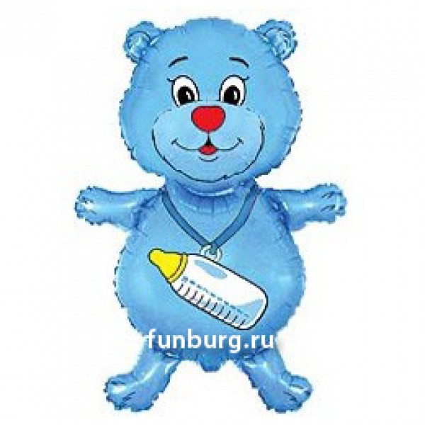 Шарик из фольги «Медвежонок-мальчик с бутылочкой» фото