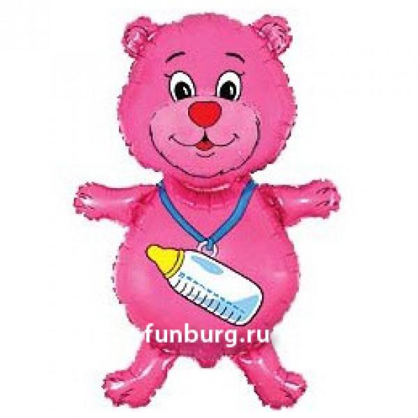 Шарик из фольги «Медвежонок-девочка с бутылочкой»Из фольги с рисунком<br>Высота: 81 см Производитель: Flexmetal, Испания<br>