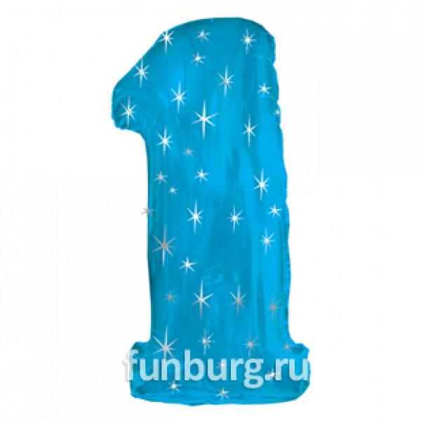 Шар из фольги «Цифра 1 (голубая)» фото