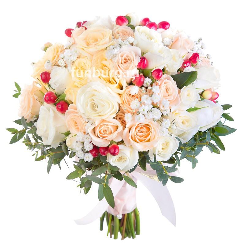 Букет невесты «Нежный поцелуй»Букеты невесты<br> <br>Диаметр:<br><br><br> 23-25 см<br><br>