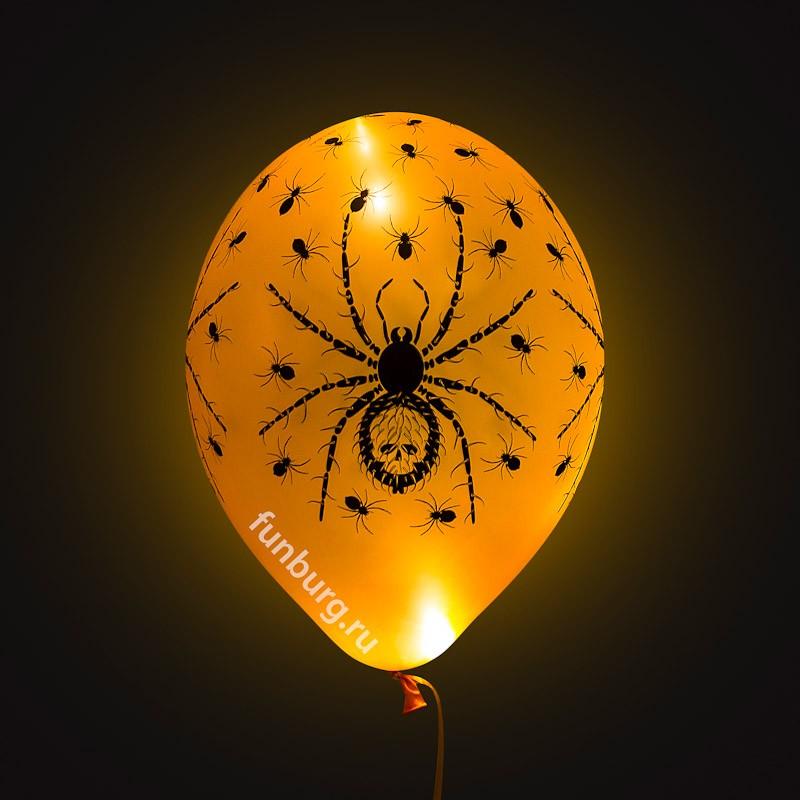 Светящиеся шары «Хэллоуин»Светящиеся шары<br>Размер: 35 см (14)<br> Состав: шар с рисунком, мигающий светодиод (белый или цветной – консультируйтесь с менеджером при подтверждении заказа).<br> Производитель: Belbal, Бельгия<br> Цвет: оранжевые<br>