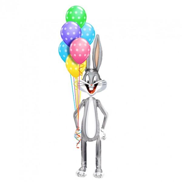 Букет шаров «Багс Банни на празднике»Ходящие шары<br>Состав: Багс Банни6 шариков «Большие кружки».<br>