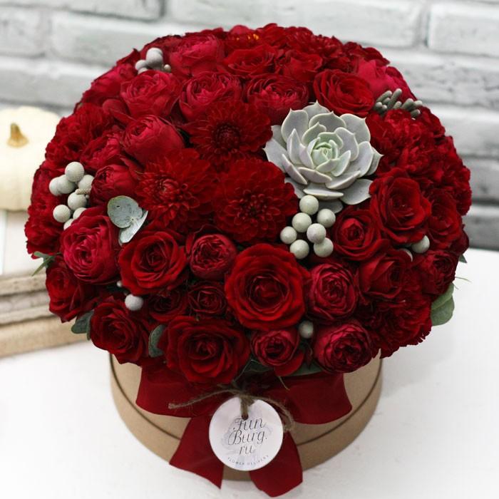 Цветы в шляпной коробке «Вишневая мята»