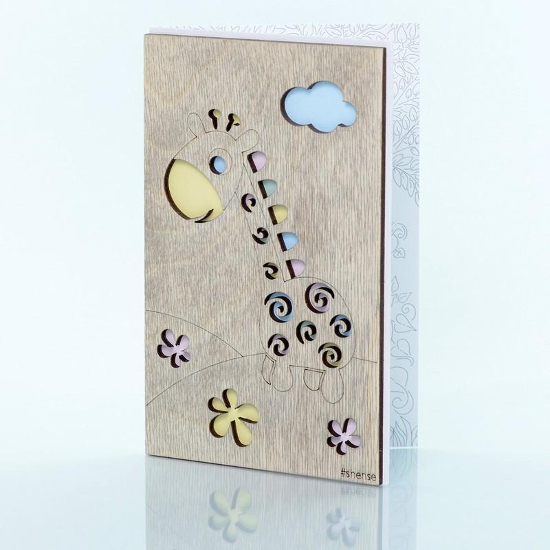 Деревянная открытка ручной работы «Жирафик» фото