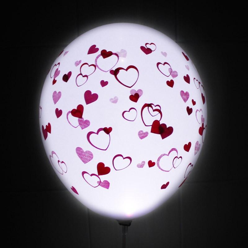 Светящиеся шары «Любой шар с сердечками»Светящиеся шары<br>Светящиеся шары!<br>Состав: шар с рисунком, светодиод (белый или цветной – уточняйте при оформлении заказа).<br>Размер: 30 см (12)Производитель: Sempertex, Колумбия<br>