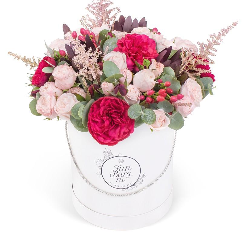 Цветы в шляпной коробке «Румба»
