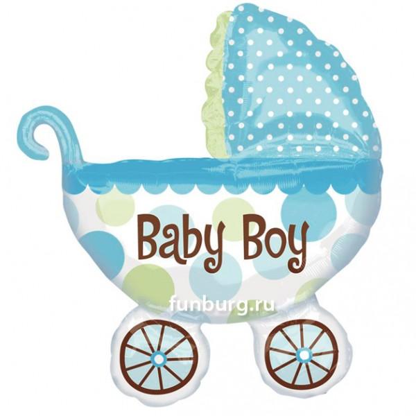 Купить Шар из фольги «Детская коляска (голубая)»