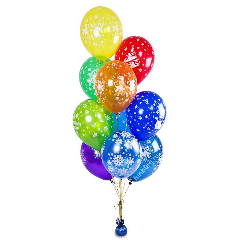 Букет из шаров «Новый год на носу»Наборы шаров<br>Размер шаров: 30 см<br> Высота букета: 180 см<br> Состав: 10 шаров, грузик, пакет для транспортировки<br> Цвет шаров: ассорти<br>