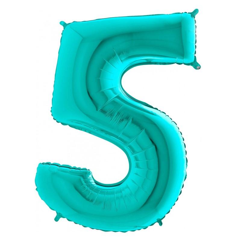 Шар из фольги «Цифра 5 (Тиффани)» фото