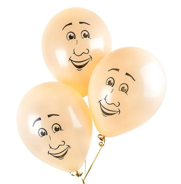 Воздушные шары «Мужские лица»Латексные с рисунком<br>Размер: 30 см (12)<br>Производитель: Sempertex, Колумбия<br>Цвет: телесный, пастель<br>