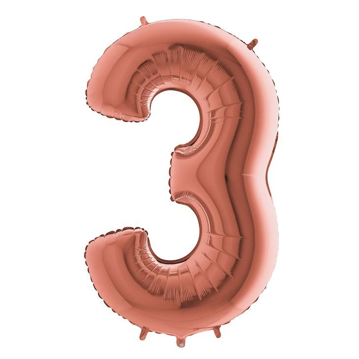 Шар из фольги «Цифра 3 (розовое золото)»