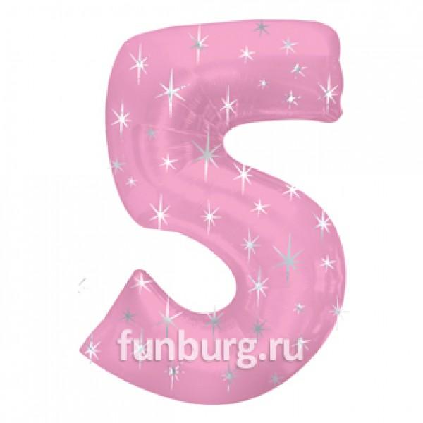 Шар из фольги «Цифра 5 (розовая)» фото