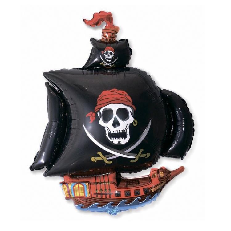 Шар из фольги «Пиратский корабль» (черный)Море и пираты<br>Высота: 104 см Производитель: Flexmetal, Испания<br>