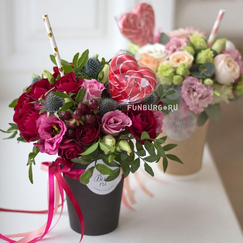 Купить Цветы в стаканчике «Возьми с собой» с сердечком