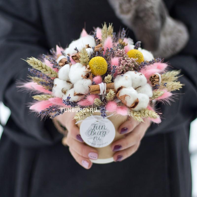 Букет из сухоцветов в стаканчике «Миндаль» фото