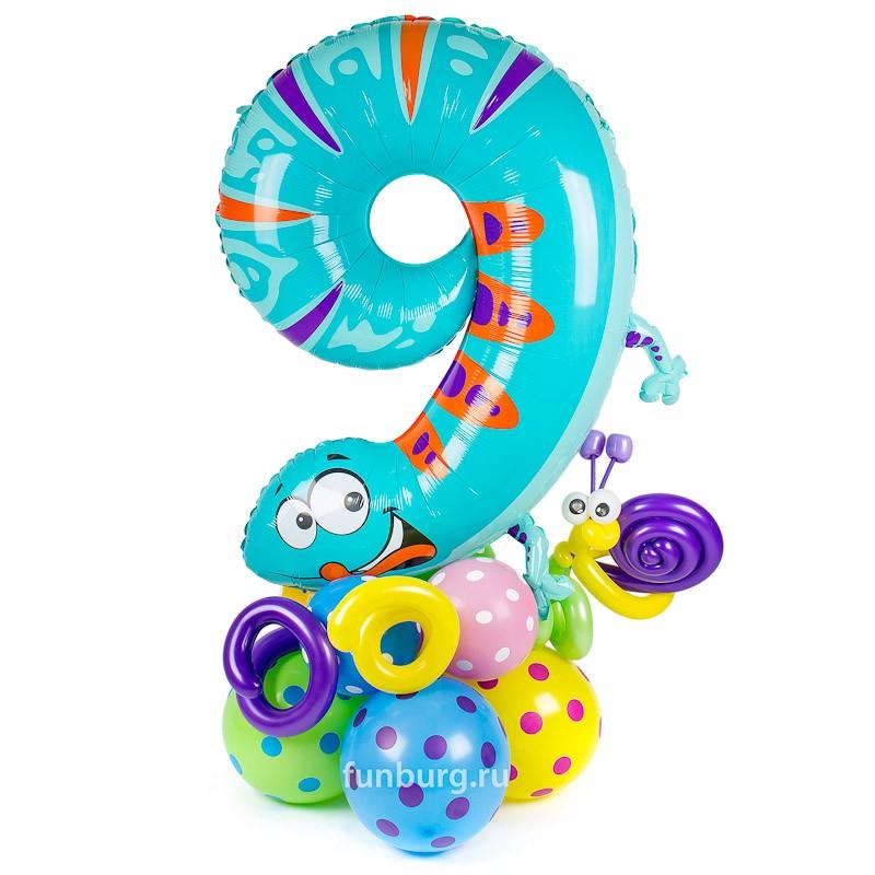 Купить Фигура из шаров «Цифра 9 (ящерица)»