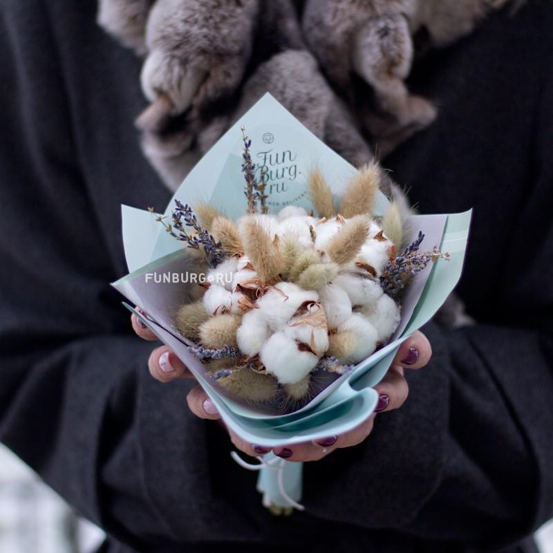 Купить Букетик из сухоцветов «Снежок»