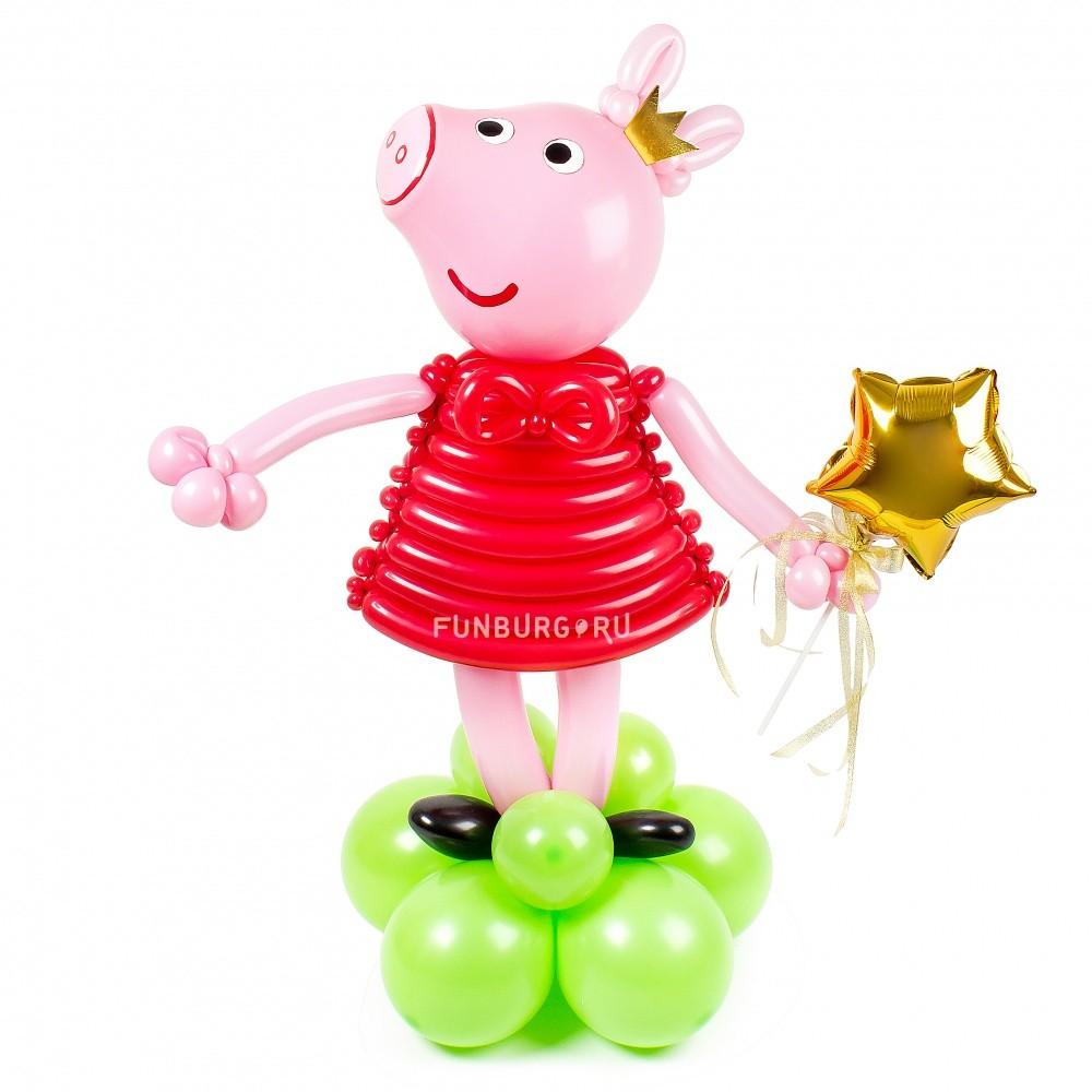 Фигура из шаров «Свинка Пеппа»Герои мультфильмов<br>Высота фигуры: 90 см<br> Производство: Funburg.ru<br>