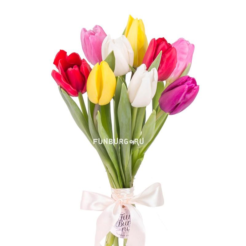 Купить Букет тюльпанов «Весенний» (без упаковки)