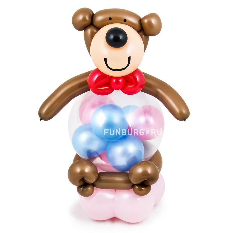 Фигура из шаров «Медвежонок с сюрпризом»День рождения<br> <br>Размер:<br><br><br>высота 45-50 см<br><br> <br>Производство:<br><br><br>Funburg.ru<br><br>