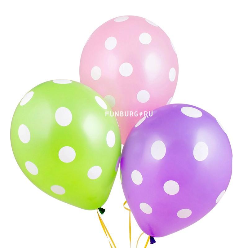 Воздушные шары «Большие кружки»Латексные с рисунком<br>Размер: 28 см (11)<br>Производитель: Qualatex, США<br>Цвет шаров: ассорти (пастель)<br>
