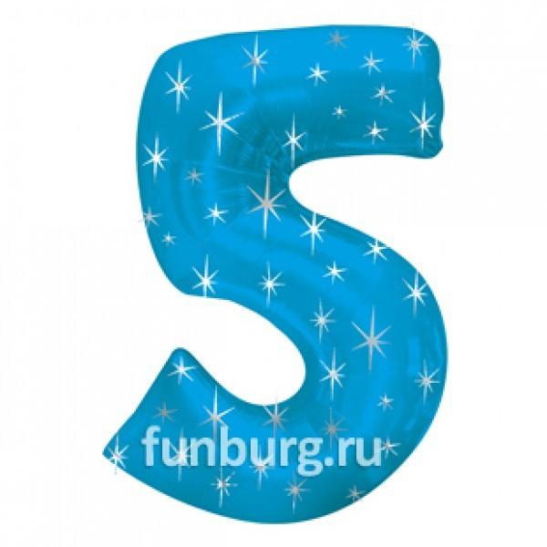 Шар из фольги «Цифра 5 (голубая)» фото