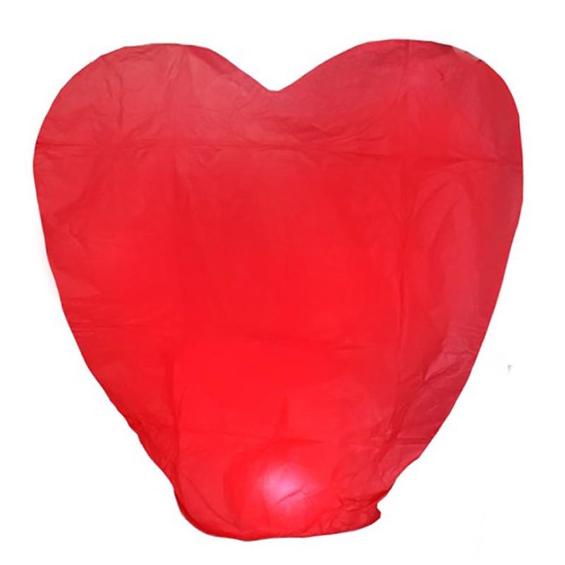 Небесный фонарик «Большое сердце»Небесные фонарики<br>Размер: 40*110*130 см<br>Цвет: красный<br>Время полета: 12-15 минут<br>Высота полета: 800 - 1000 метров<br>