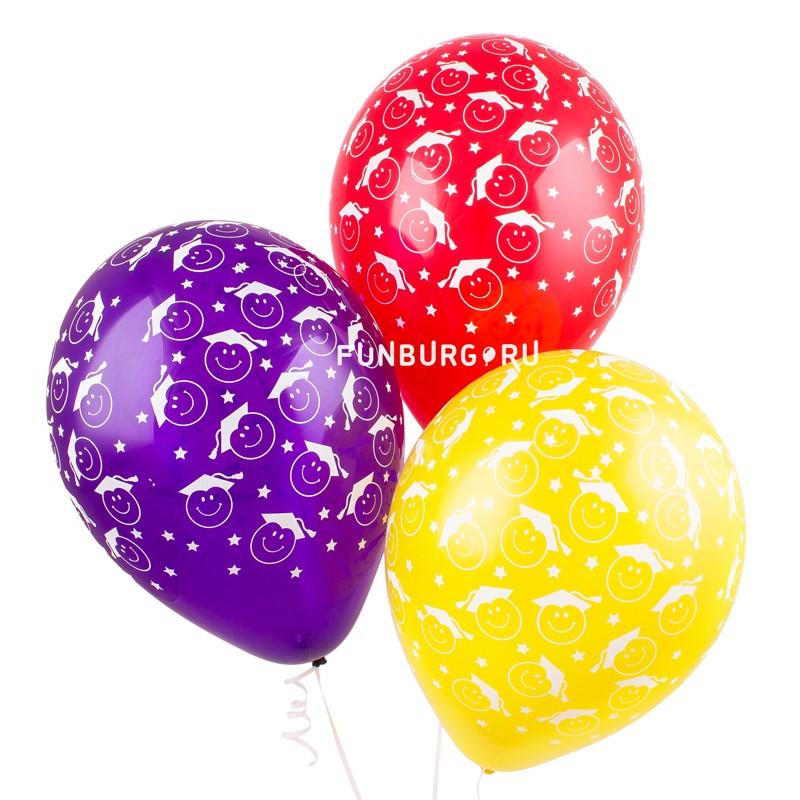 Воздушные шары «Выпускники»Выпускной<br>Размер: 30 см (12)<br> Производитель: Sempertex, Колумбия<br> Цвет: разноцветные шары с выпускниками<br>
