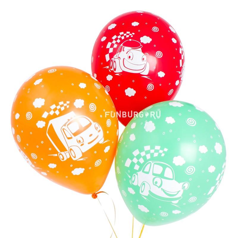 Воздушные шары «Машинки с улыбками»Латексные с рисунком<br>Размер: 30 см (12)<br>Производитель: Sempertex, Колумбия<br>Цвет шаров: ассорти (пастель)<br>