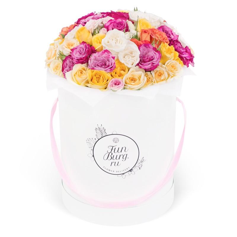 Цветы в шляпной коробке «Калейдоскоп»