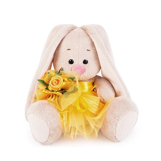 Мягкая игрушка «Зайка Ми в желтой юбочке и с букетом» фото