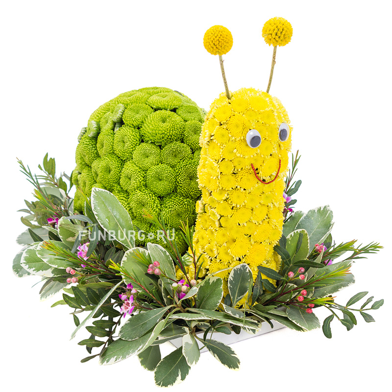 Игрушка из цветов «Веселая улитка»
