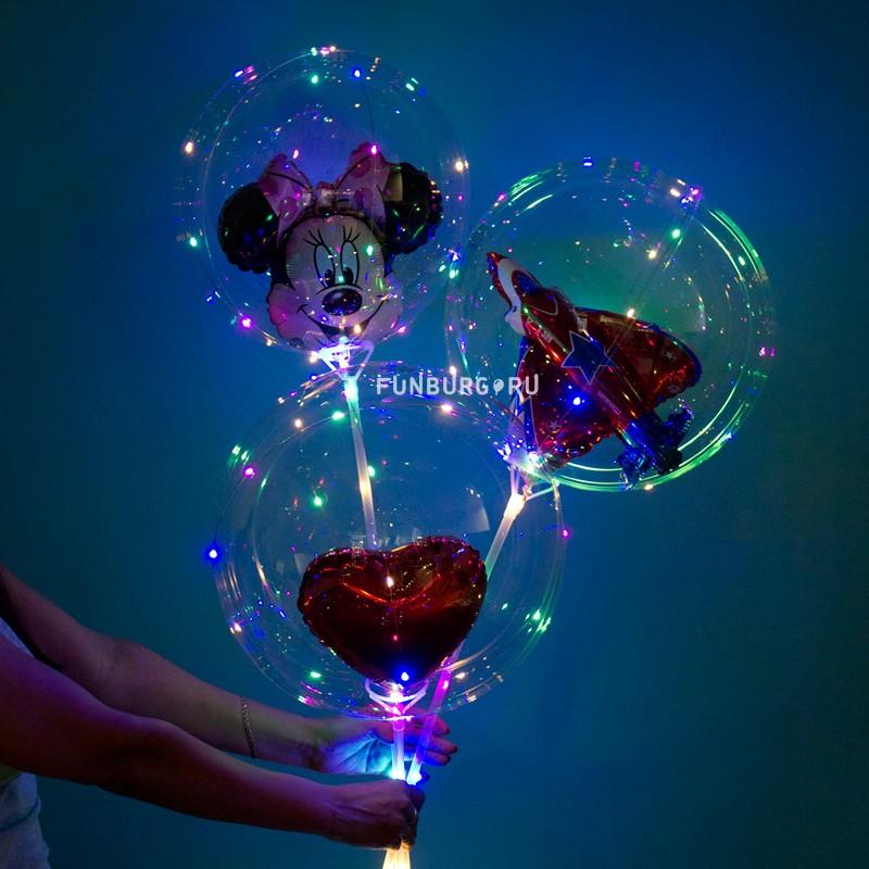 Купить Светящийся шар Bubble на палочке «С LED-гирляндой и шариком»
