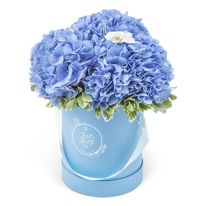 Цветы в шляпной коробке «Лазурный берег» фото