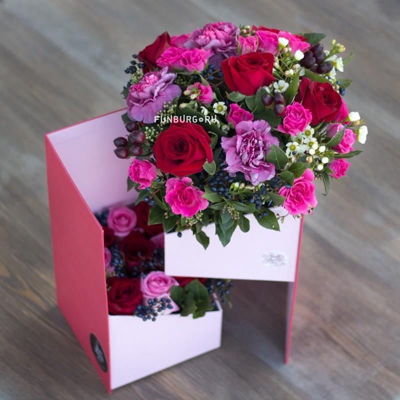 Купить Цветы в раздвижной коробке «Мармелад»
