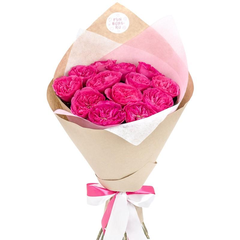 Букет Букет 7 роз Хай Еллоу в шляпной коробке (фиолетовая)