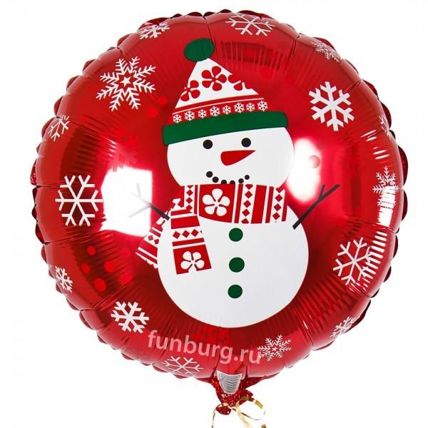 Шар из фольги «Веселый снеговичок» фото