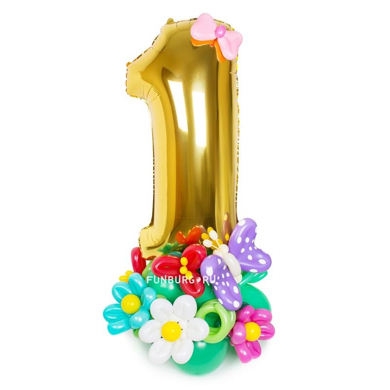 Фигура из шаров «Стойка с цифрой» (цветочная) фото