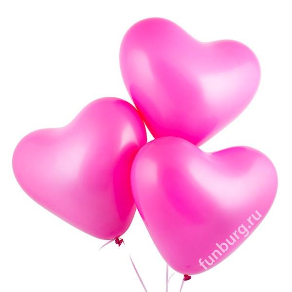 Воздушные шары (16дюймов) «Тёмно-розовые сердца»