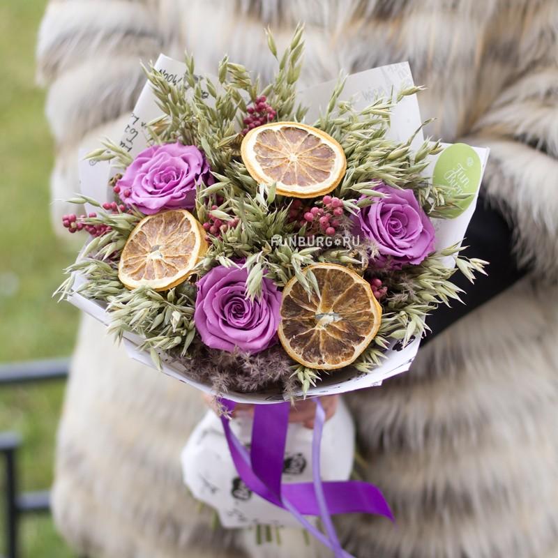 Купить Букет из сухоцветов «Цитрус»