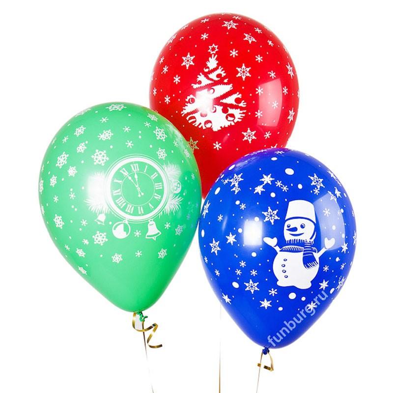 Воздушные шары «Новогоднее ассорти»Латексные с рисунком<br>Размер: 30 см (12)<br> Производитель: Sempertex, Колумбия<br> Цвет: ассорти, пастель<br>