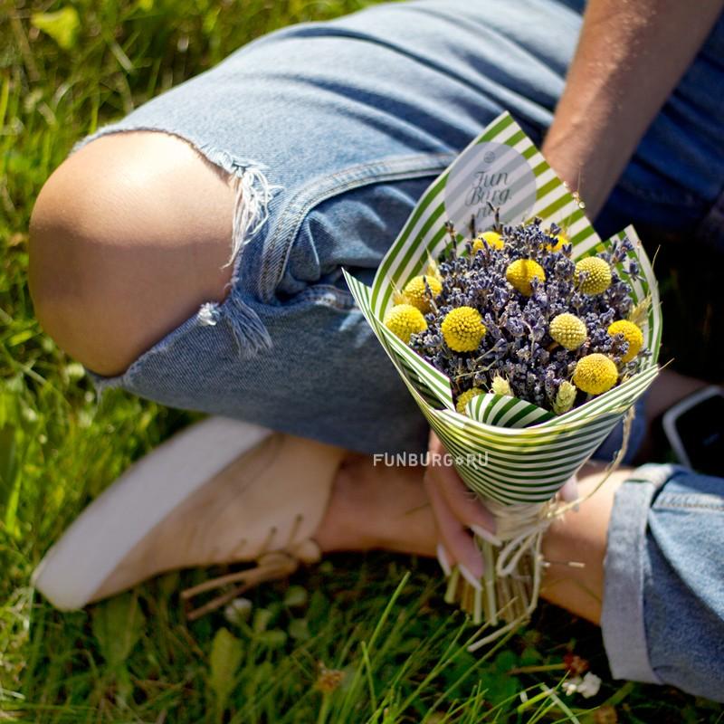 Мини-букет из сухоцветов «Лучик» фото